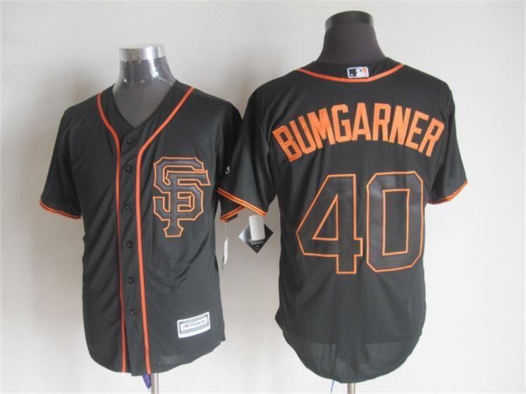 Men's San Francisco Giants #40 Madison Bumgarner Alternate Black 2015 MLB Cool Base Jersey