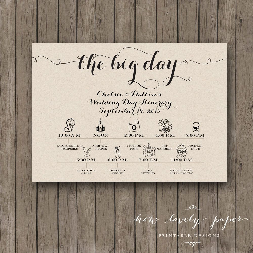 Printable Wedding Day Itinerary Card