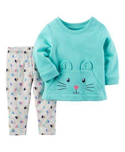 Buy Carters 2piece Character Top Legging Set Blue Grey For Girls 0 3 Months Online In India Shop Ropa Infantil Para Nina Ropa Bebe Nina Moda Para Bebes