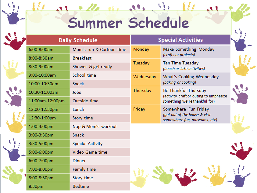 i created this summer schedule for my son using a free