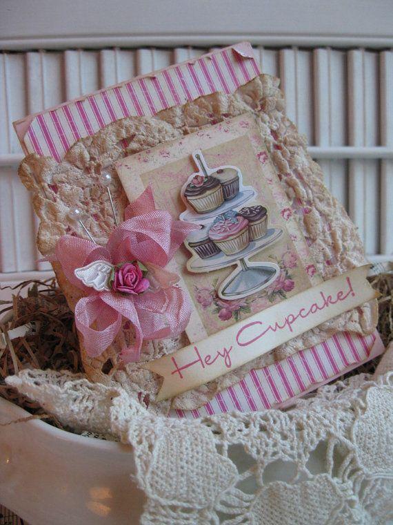 shabby chic vintage doily HEY CUPCAKE handmade card