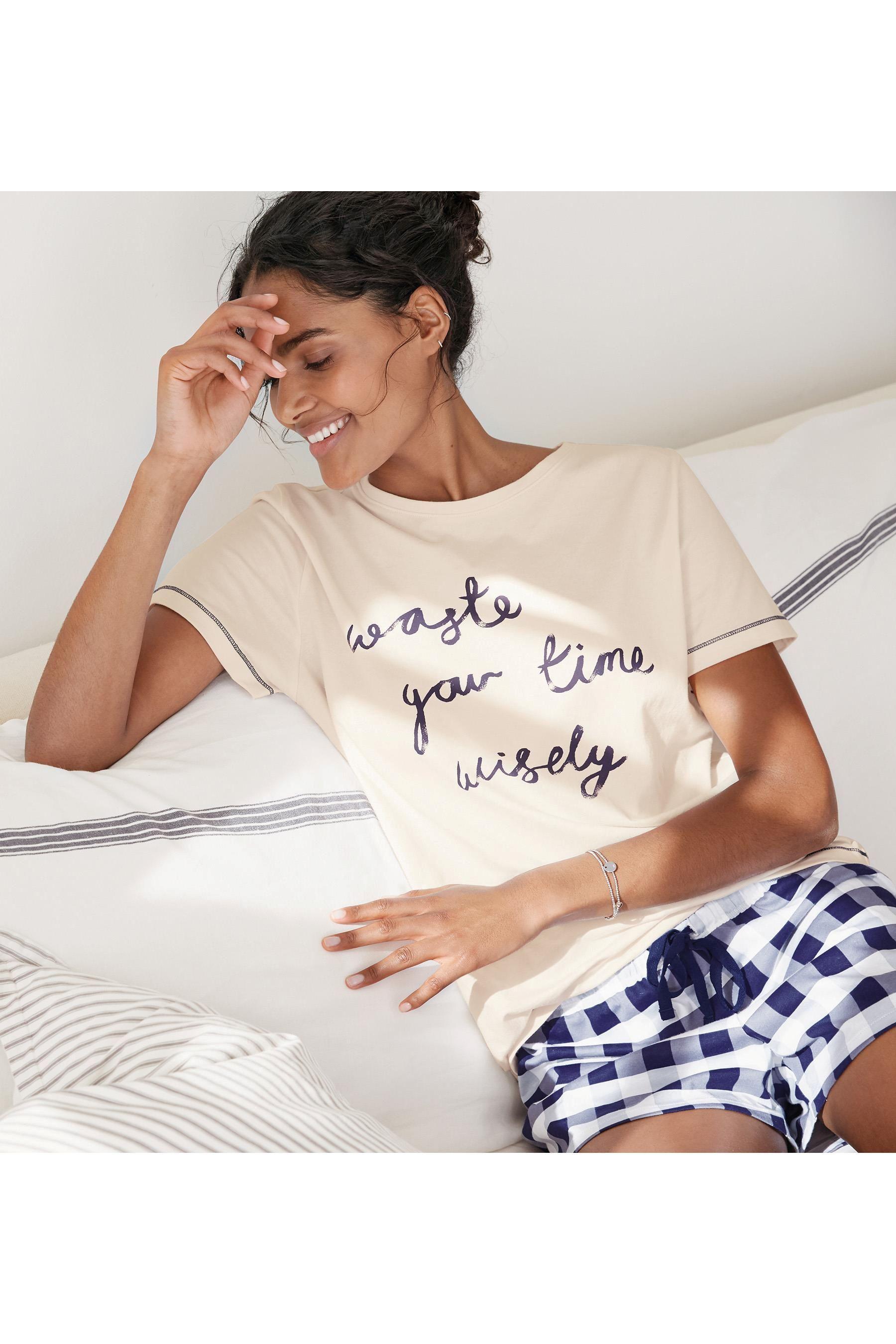 48a97b4f7411 Buy White Blue Slogan Cotton Short Set from the Next UK online shop ...