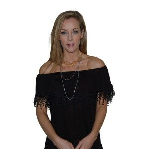 Catalina-Midnight Black  $79 QUICK OVERVIEW Catalina is a sassy convertible top adorned with beautiful lace trim that is chic and romantic. It can be worn on or off the shoulder to flaunt your best look!  100% Tencel Available in Sizes S-L Made in the USA * Required Fields *Color - Midnight Black