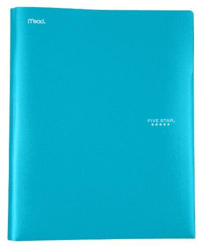 Five Star Plastic Pocket And Prong Folder, Teal (73915