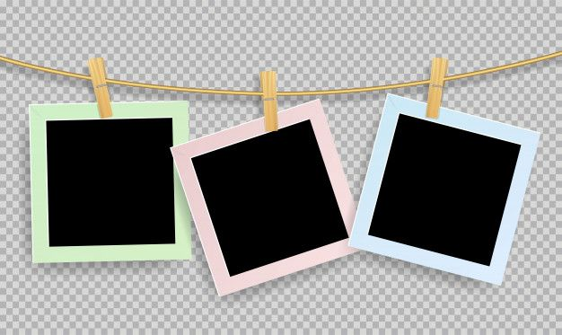 Retro Realistic Photo Frame With Paper Clip Of Wood