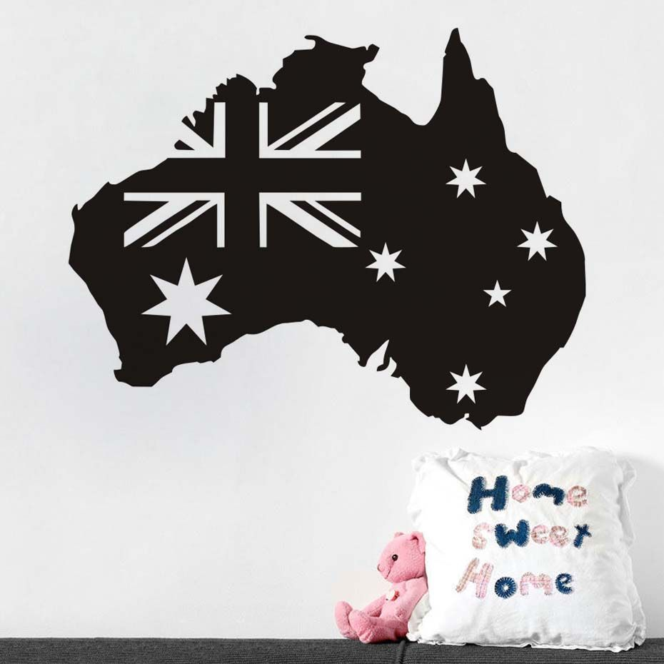 Flag Map Of Australia Wall Art Decor Pvc Removable Waterproof Self