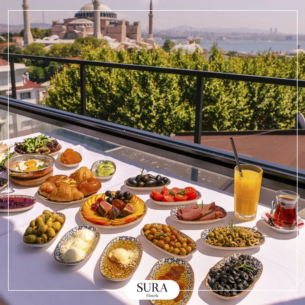 Wonderfull Breakfast Against The Amazing View Hagia Sophia Terrace Restaurant Open Buffet