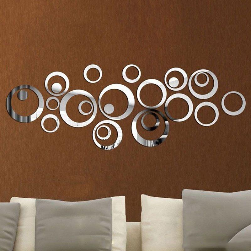 mode dekorasi rumah lingkaran cermin gaya removable decal vinyl art