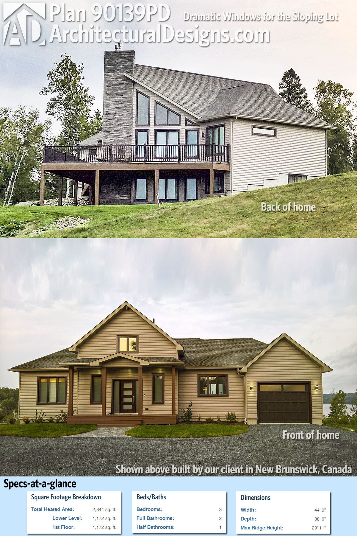 Plan 90139PD Dramatic Windows for the Sloping Lot Lake