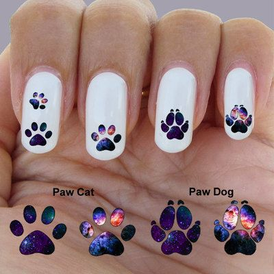 Cat Paw Nail Galaxy Art Waterslide Decal Set Of