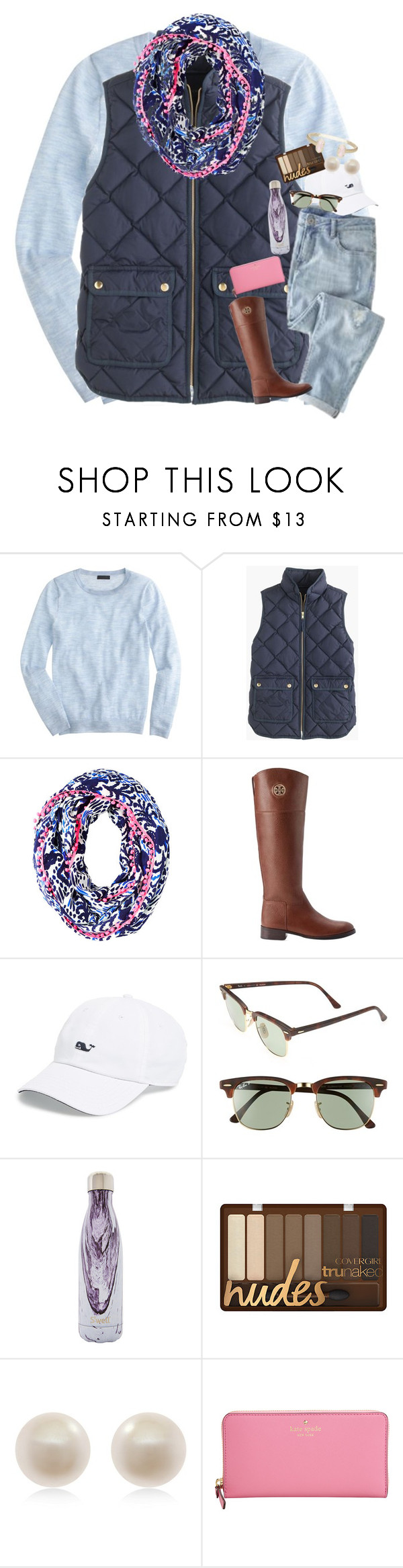"""""""One of the last Winter sets!! Summer here we come!"""" by haileymartin12 ❤ liked on Polyvore featuring J.Crew, Lilly Pulitzer, Tory Burch, Vineyard Vines, Ray-Ban, S'well, Links of London and Kate Spade"""