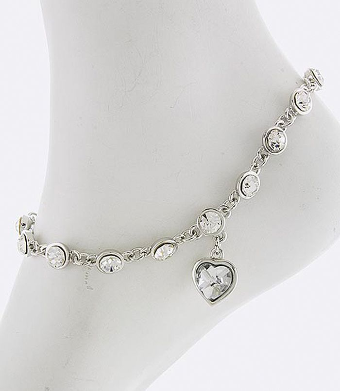 Glit-Z Honorable Heart Anklet