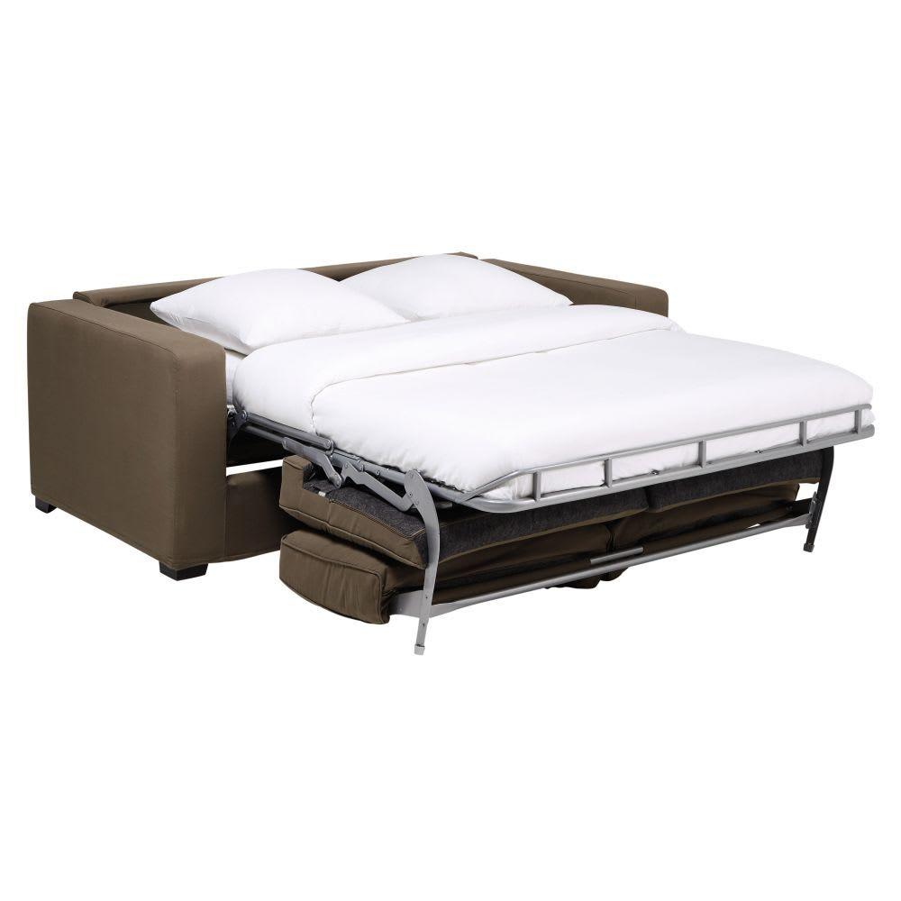 Ausziehbares 2-/3-Sitzer-Sofa aus Baumwolle, taupefarbener ...
