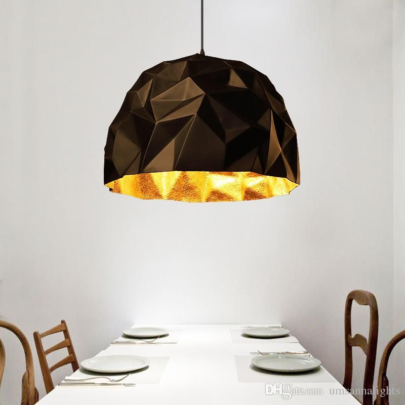 Modern Pendant Lamps Geometrical Black Gold Lights Fixture European Vintage Home Indoor Lighting Cafes Pub Bar Resin Lamp Whole Retro