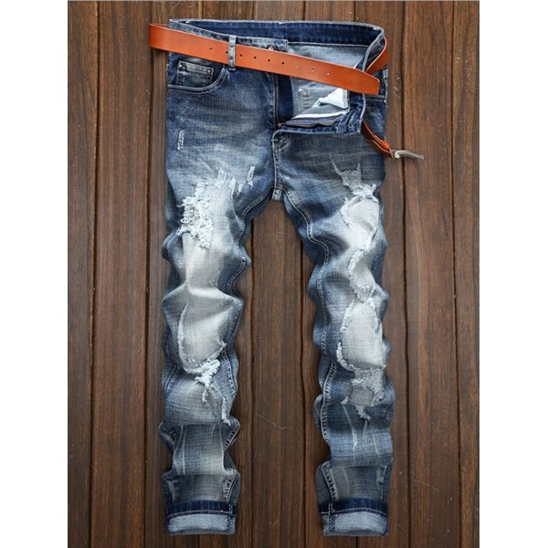 21.59$  Watch now - http://didoz.justgood.pw/go.php?t=197672206 - Zipper Fly Straight Leg Holes and Cat's Whisker Design Jeans