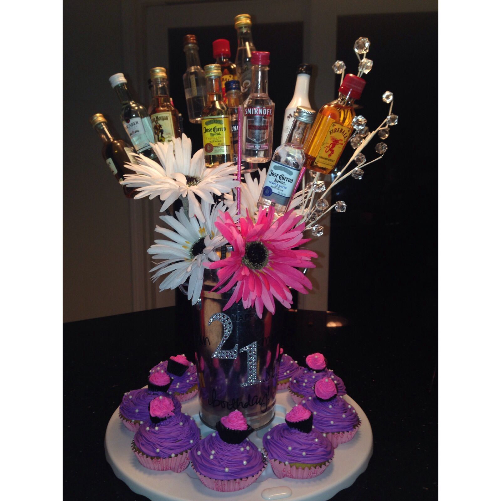 Liquor Bouquet for a 21st birthday ! Girly 21st birthday