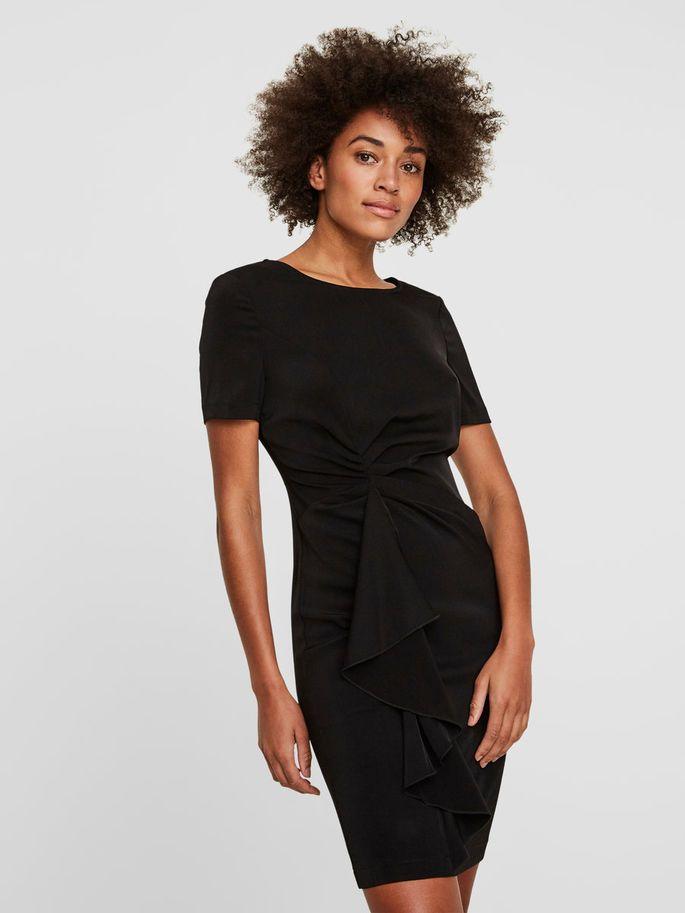 feminines kleid mit kurzen ärmeln   fashion, dresses