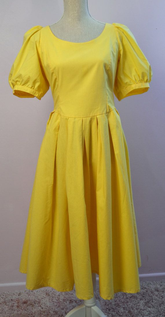 1980 S Laura Ashley Yellow Dress With Puff By Vintagevanitygb Laura Ashley Yellow Yellow Dress Mid Century Fashion