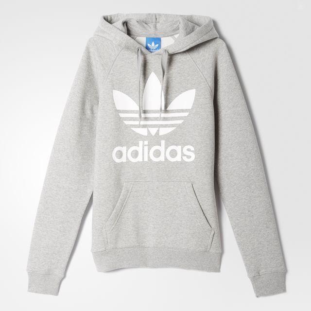 grå adidas hoodie dam