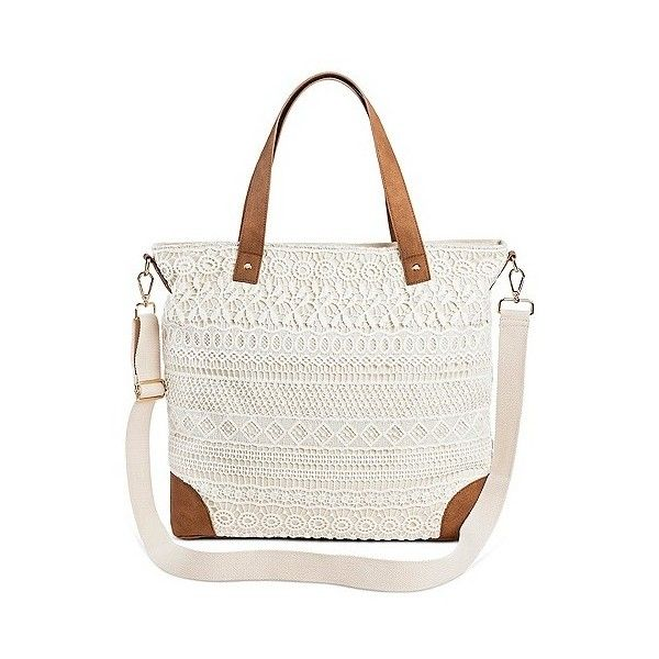 607e80368d6e Women s Crochet Overlay Canvas Tote Handbag with Removable Crossbody...  (850 UYU) ❤ liked on Polyvore featuring bags