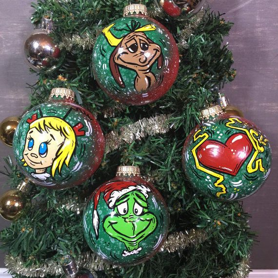 How the Grinch Stole Christmas Ornaments from KustomKultureKrafts on Etsy.  Shop more products from KustomKultureKrafts - How The Grinch Stole Christmas Ornaments From KustomKultureKrafts On