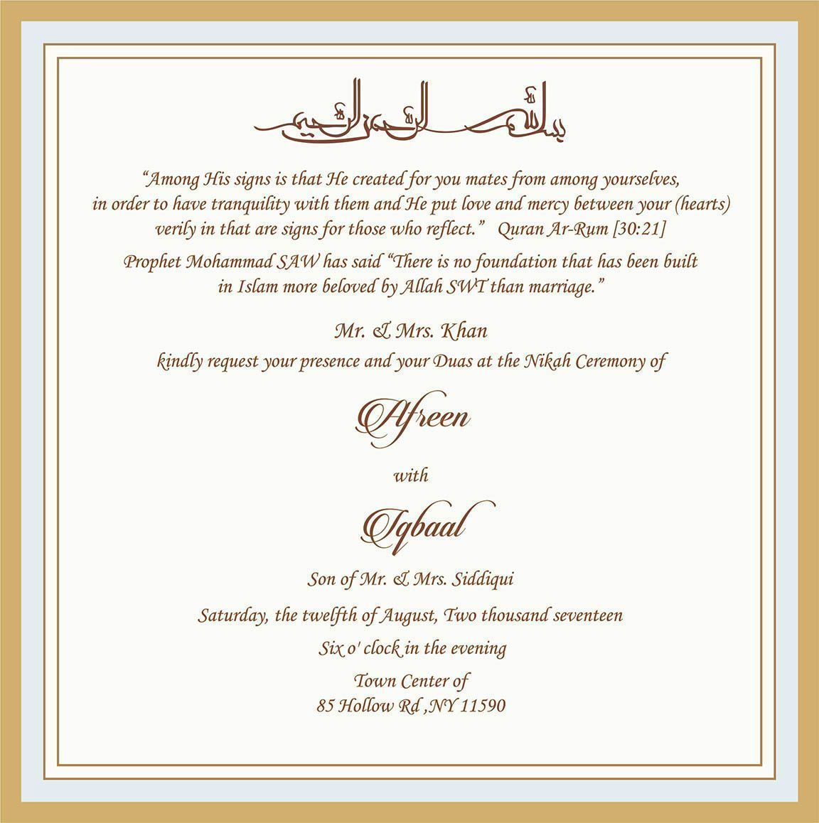 Wedding Invitation Wording For Muslim Wedding Ceremony ...