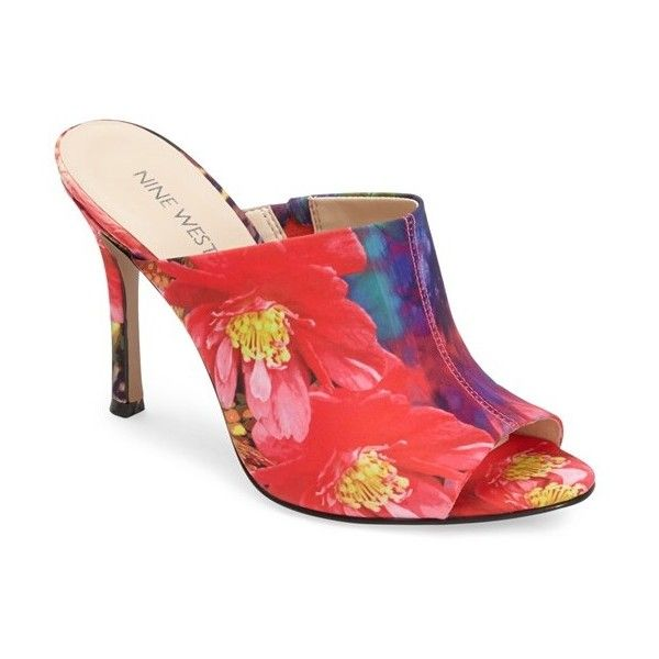 """Nine West 'Funnyhow' Open Toe Mule, 4"""" heel ($59) ❤ liked on Polyvore featuring shoes, red multi, red high heel shoes, high heels stilettos, red shoes, leather mule shoes and red stilettos"""
