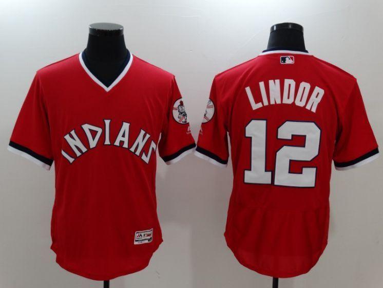 buy popular 31942 4fea0 Men Cleveland Indians 12 Francisco Lindor Red Throwback MLB ...