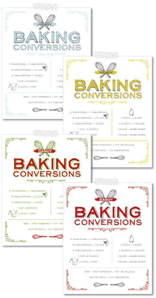 Free Printable Vintage Baking Conversions Chart Baking