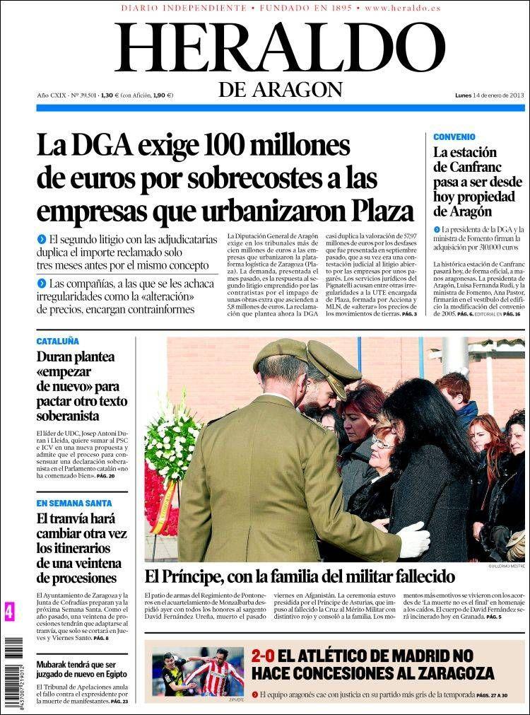 Los Titulares y Portadas de Noticias Destacadas Españolas del 14 de Enero de 2013 del Diario Heraldo de Aragon ¿Que le parecio esta Portada de este Diario Español?