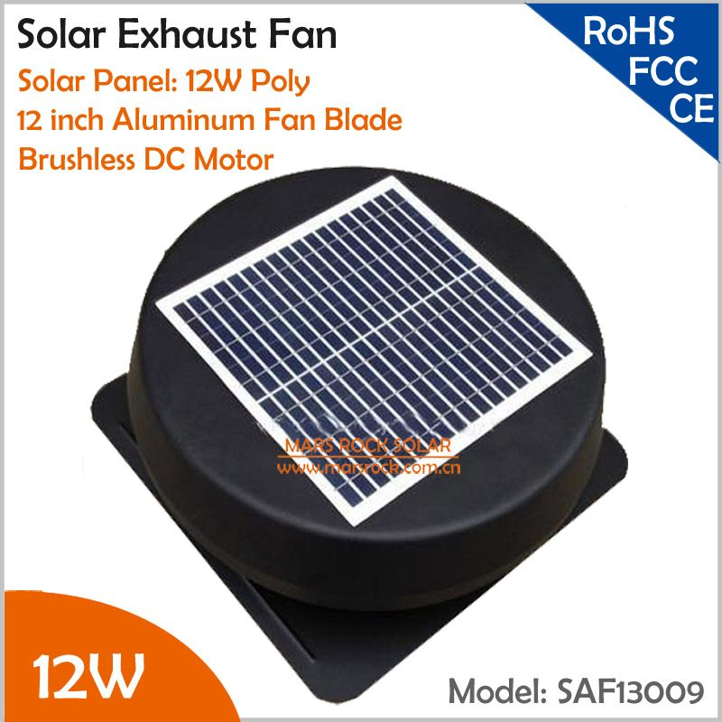 Brushless 12inch 12w Solar Exhaust Fan With Ac Charger Round Solar Attic Fan With Fixed Solar Panel To Keep House Cool An Solar Attic Fan Exhaust Fan Attic Fan