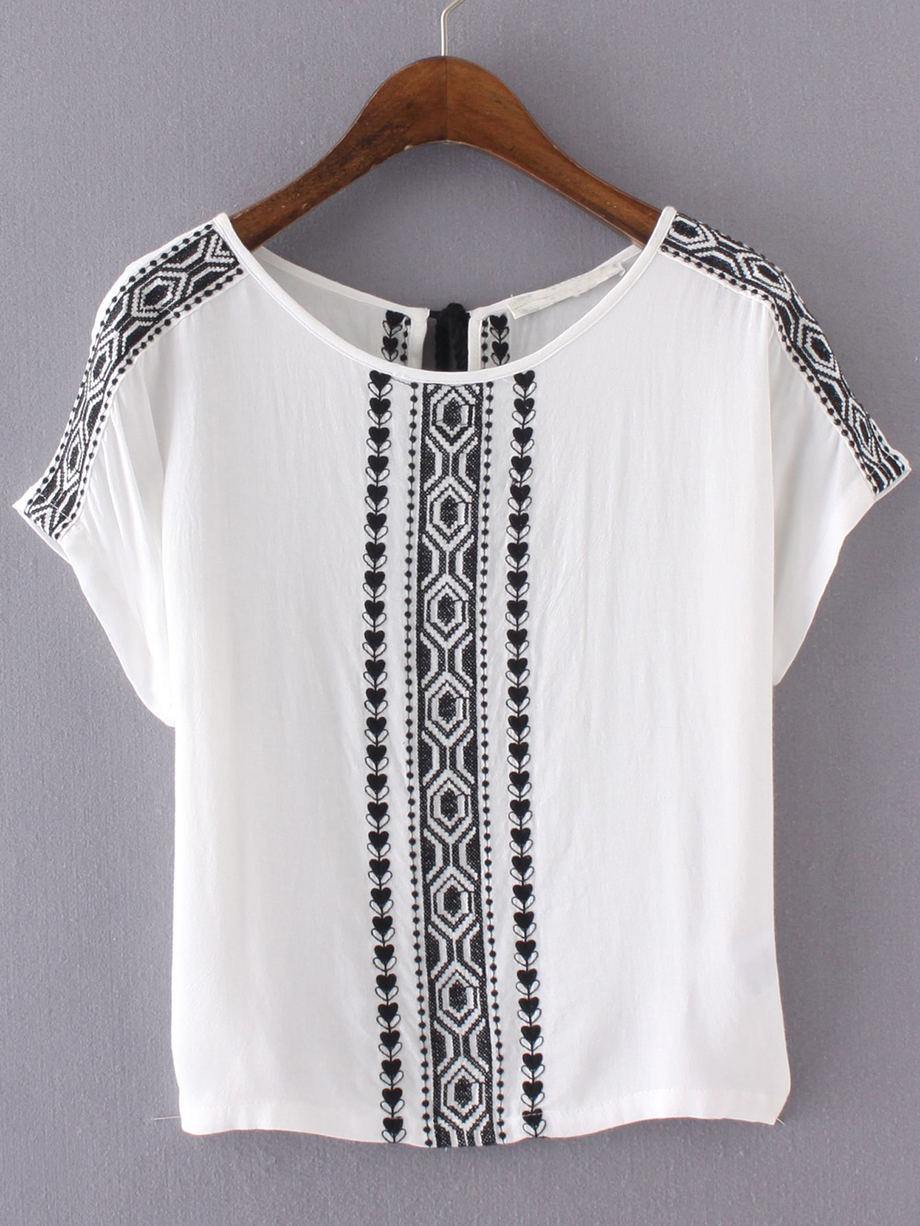 Shop White Embroidery Key-hole Tassel Back Blouse online. SheIn offers White Embroidery Key-hole Tassel Back Blouse & more to fit… #whiteembroidery