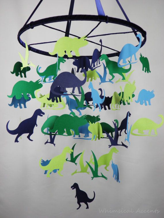 Dinosaurs decorative baby mobile extra large by whimsicalaccents on etsy anniv dino - Deco chambre dinosaure ...