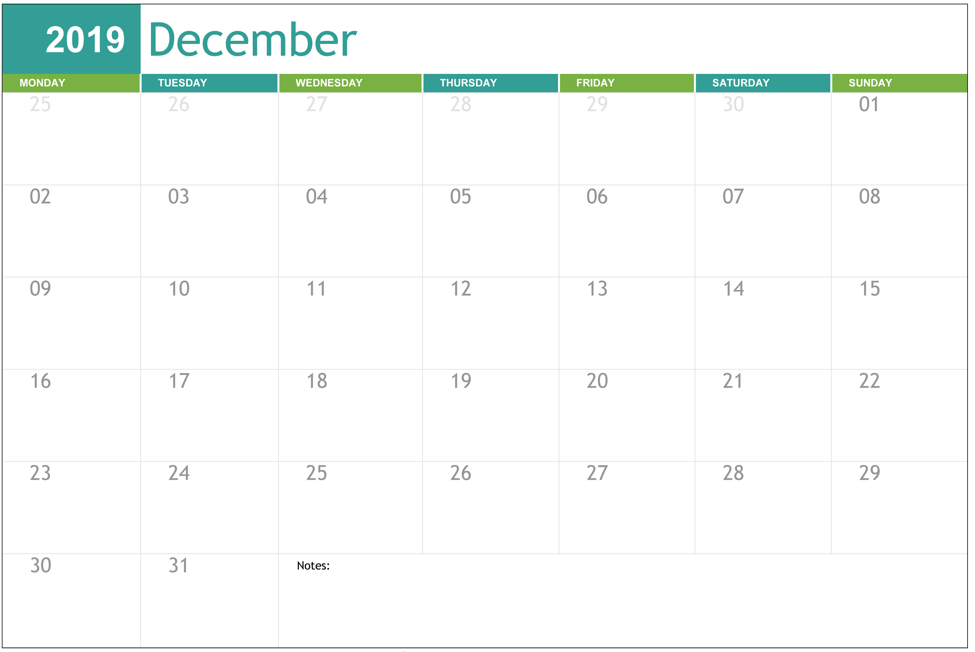 Blank December Calendar Word Doc Template