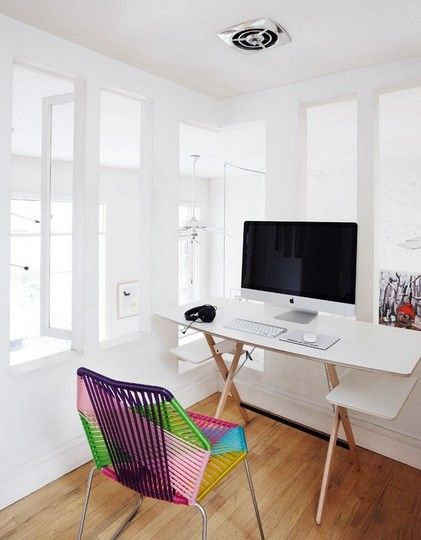 Loving the all white theme with that chair for a punch of color