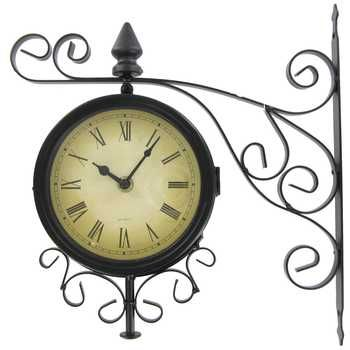 Black Metal Two Sided Bracket Wall Clock Decoracion De Unas Reloj