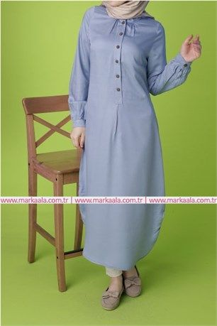 Dugme Detayli Tunik Civit Mavi Allday 50349 Tesettur Giyim Ayakkabi Pantolon Allday Markaala Dugme Hijab Elbise Tunik Pa Fashion Clothes Shirt Dress