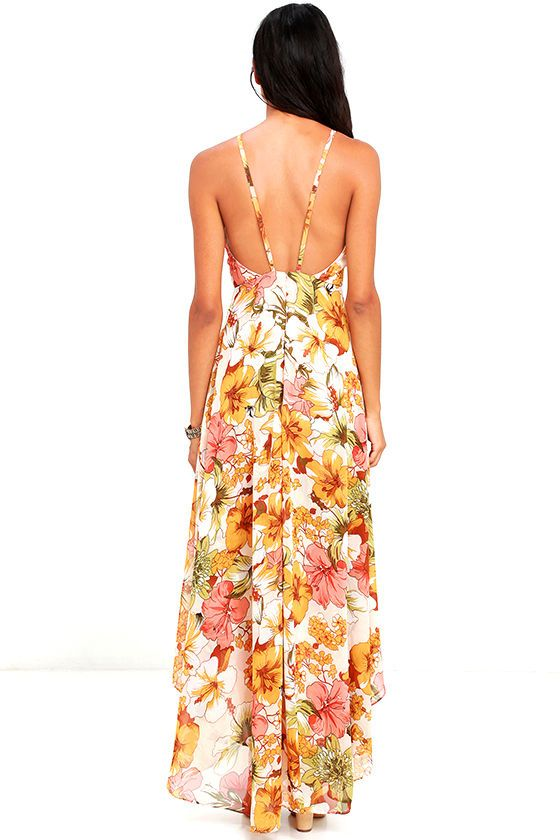 Say aloha to your new love ... the Palms in Paradise Blush Floral Print High-Low Dress! Lovely blush Georgette (with an orange, peach, olive, and black floral print), is formed to a princess-seamed bodice with apron neckline, adjustable straps, and low back. Layered high-low maxi skirt has a side slit. Hidden back zipper/clasp.