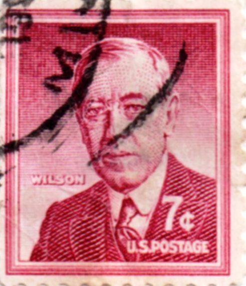 US Postage Stamp 7 Cent Woodrow Wilson Issued 1954 Scott Catalog 1040