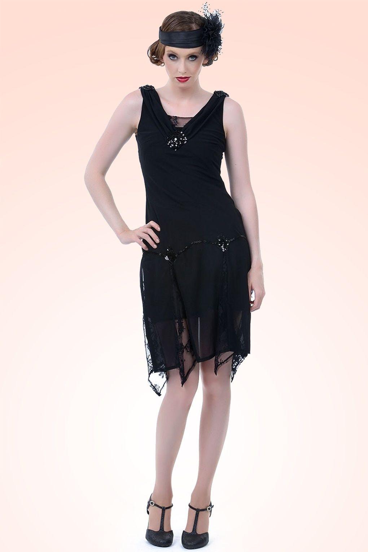 Unique vintage s hemmingway flapper dress in black ium gonna