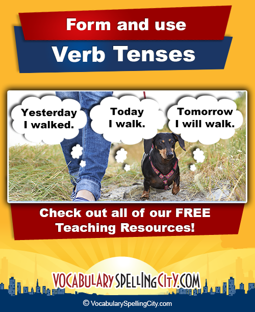 Verb tenses tell when actions happen: in the present, past ...