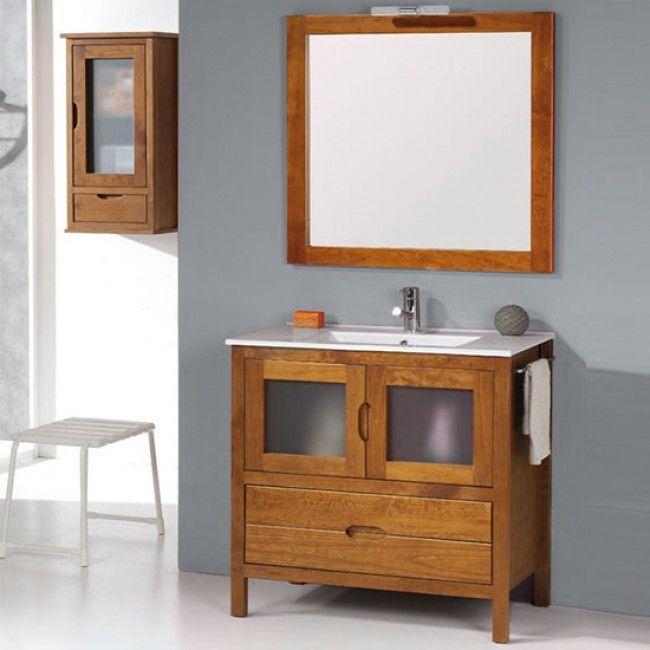 Mueble de ba o r stico bruselas con patas 80 cm teka con for Mueble lavabo rustico