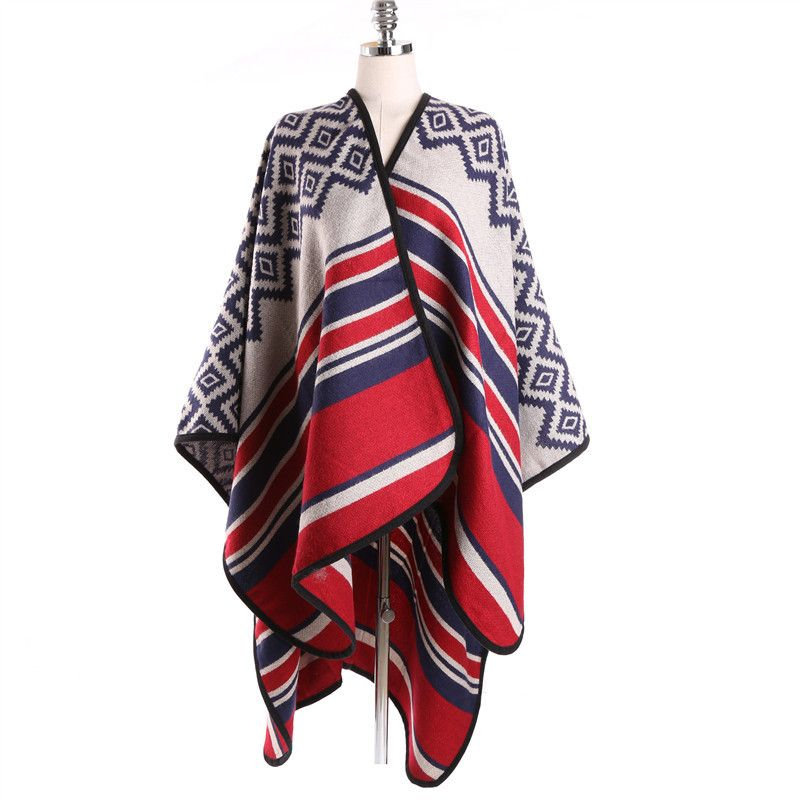 92cda80da Cashmere Split Shawl Striped Poncho Cape Poncho Patterns Ponchos and Capes  Fall 2016 Large Shawls for