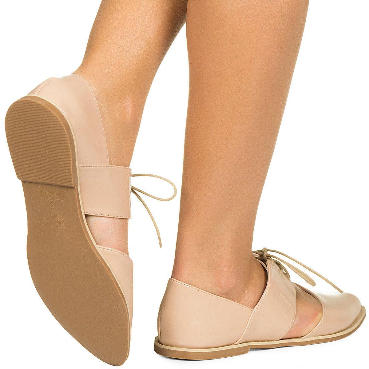 f274871c11 Sapato Oxford Aberto Nude Verniz Taquilla - Taquilla - Loja online de sapatos  femininos