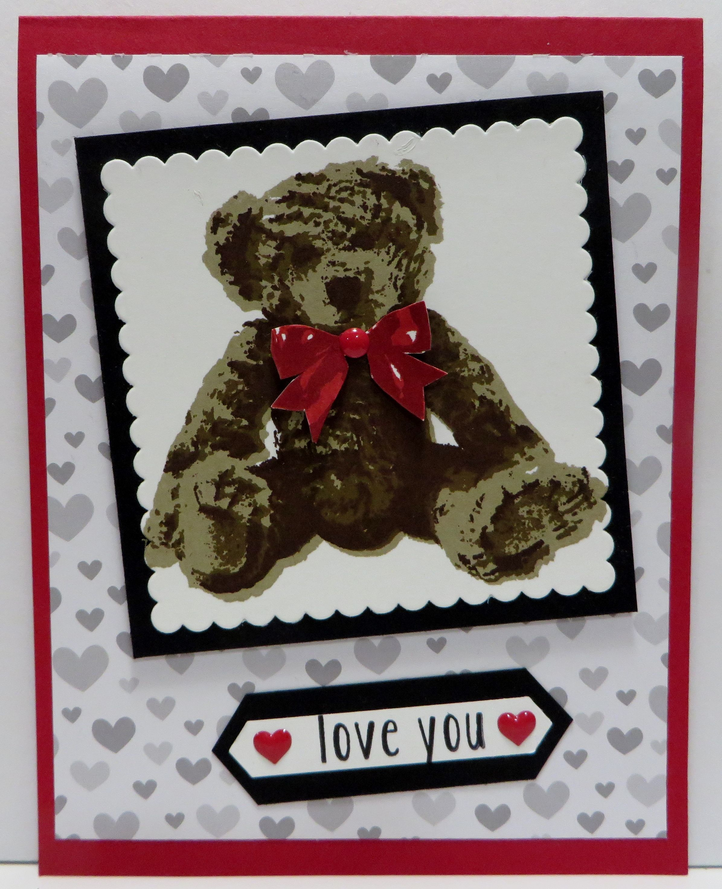 Stampin' Up Baby Bear Love card created by Lynn Gauthier using SU's Baby Bear Stamp Set, Layering Squares and Ovals Framelits Dies, Classic Label Punch and A Little Foxy Designer Series Paper.  Go to http://lynnslocker.blogspot.com/2016/08/stampin-up-baby-bear-little-foxy-iv.html to see how this card was made.