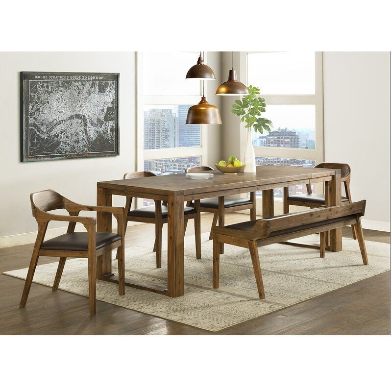 Bourgoin 6 Piece Drop Leaf Solid Wood Dining Set With Bench 2