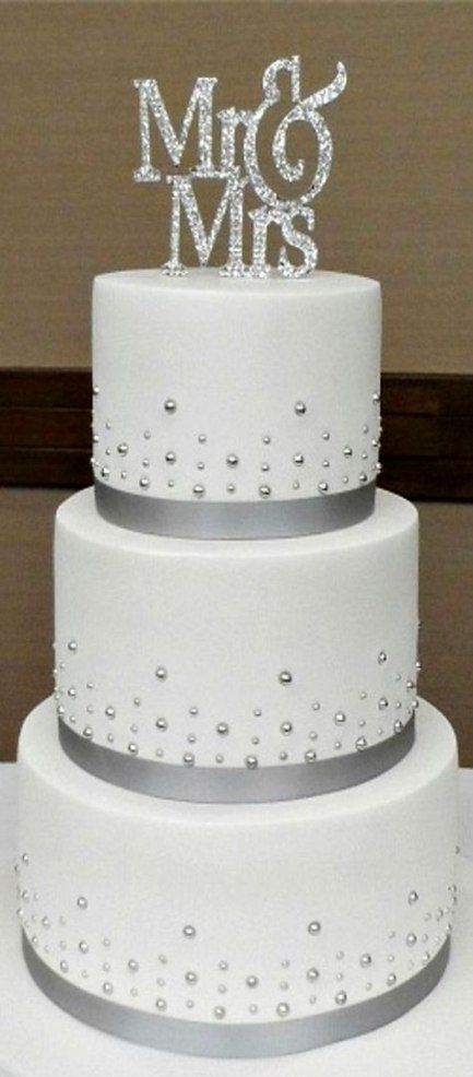 41+  ideas wedding cakes simple grey ribbons