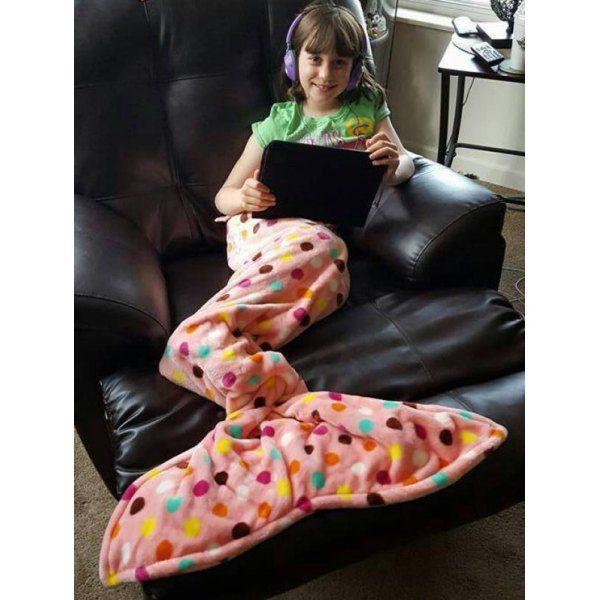 $12.40 Fashion Summer Fishtail Shape Colorful Polka Dot Pattern Mermaid Design Blanket For Kids