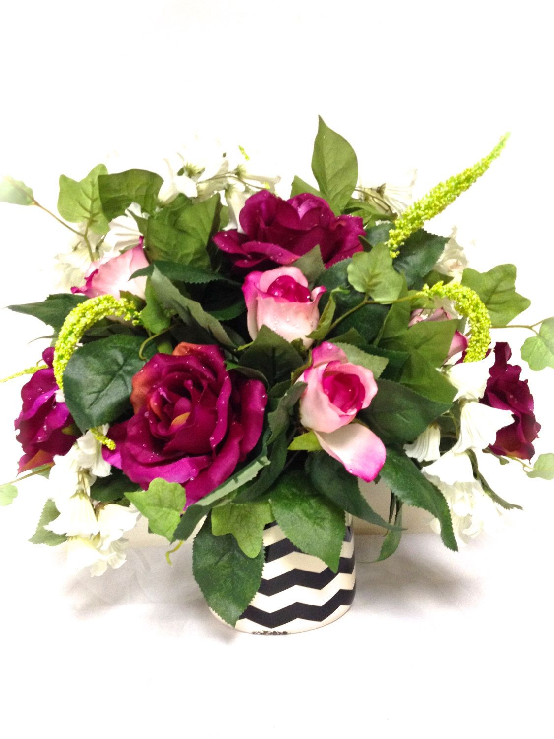 Silk floral arrangement floral centerpiece fuchsia pink lime green silk floral arrangement floral centerpiece fuchsia pink lime green silk flowers 15x8 black white chevron vase mightylinksfo Images