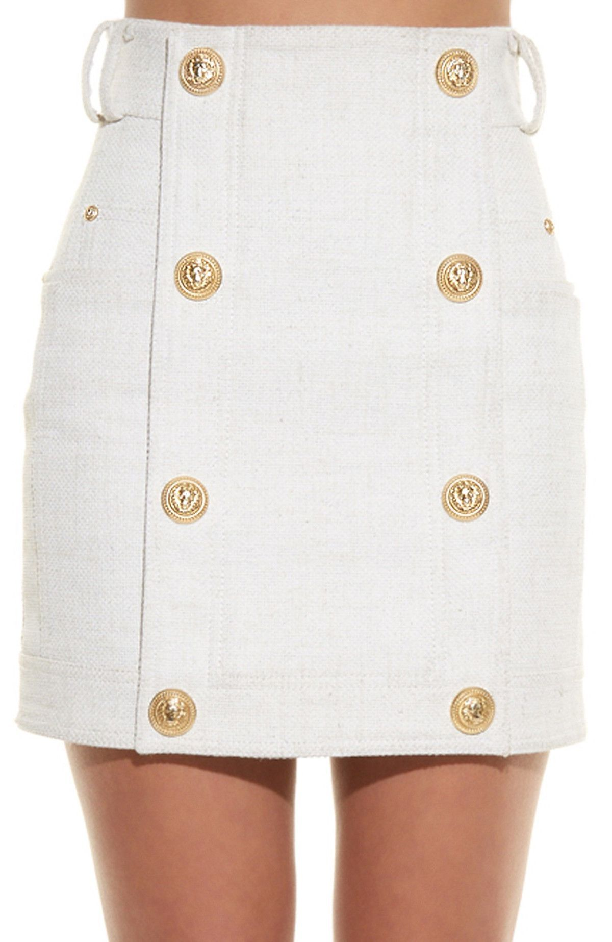 Button-Embellished Mini Skirt, White in 2018   CLOTHING   Pinterest ... c0f9c806a8